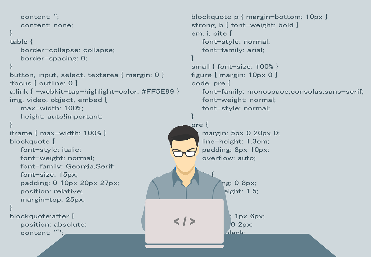 Illustration of man coding on laptop